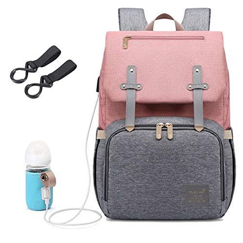 Wickeltasche für Mütter, Rucksack, groß, multifunktional, wasserdicht, Reise-Wickeltasche, USB-Ladeanschluss, Flaschenwärmer, (grau-pink), Small