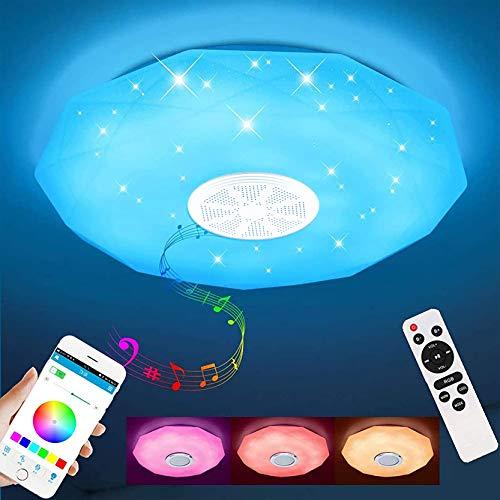 Vingtank 36W Rond Musique Plafonnier LED, Moderne Lampe De Plafond Bluetooth avec Haut-Parleur, APP & Télécommande, Salon Chambre Couloir Hôtel Restaurant Lumières Décoratives | Ø29cm
