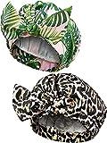 2 Stücke Duschhauben, Wasserdichte Wiederverwendbare Dusche Haarkappen Elastisch Saum Turban Dusche Bad Kappen für Langes, Kurzes und Lockiges Haar Frauen Mädchen (Palmblatt und Leopard)