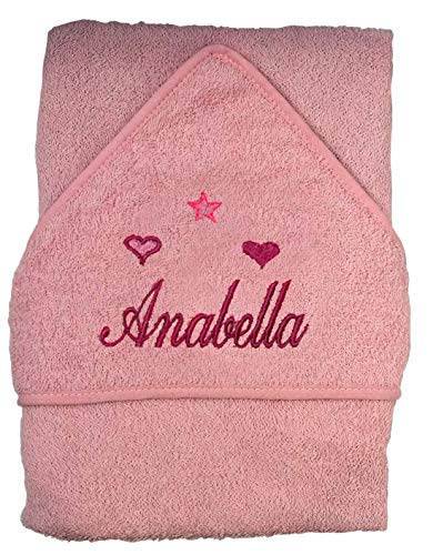 Toalla de baño con capucha para bebé con nombre de niño y niña Pink Name Stars