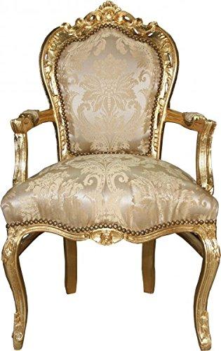 Casa Padrino Barock Esszimmerstuhl Creme Blumen Muster/Gold mit Armlehnen