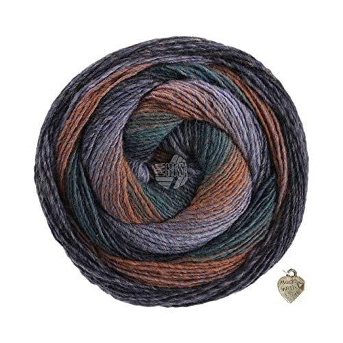Gomitolo di lana grossa, 200 g, con sfumature di colore e cuore