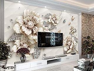 Mur de fond européen 3D TV, salle de bijoux et de fleurs, papier peint de luxe sans couture, papier peint papillon 8D, papier peint non tissé, 150 × 105 cm
