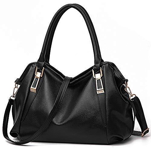 Tote Handtasche für Frauen Veganes Leder Umhängetasche Hobo Bag Satchel Geldbörse für Mädchen Schule Arbeit & Shopping (schwarz)