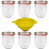 Viva Haushaltswaren - Tarros de Cristal (6 Unidades, 220 ml, Forma Redonda, indicados para Pasteles,...