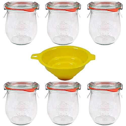 Viva Haushaltswaren - Tarros de Cristal (6 Unidades, 220 ml, Forma Redonda, indicados para Pasteles, entrantes o postres, con Gomas y Cierre, Incluye Embudo)