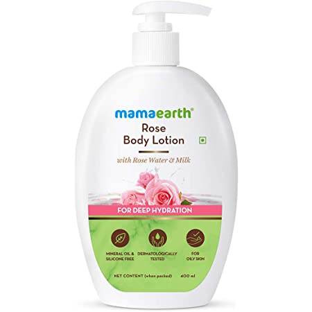 Mamaearth Rose Body Lotion with Rose Water and Milk For Deep Hydration - (400ml, All Skin Types)