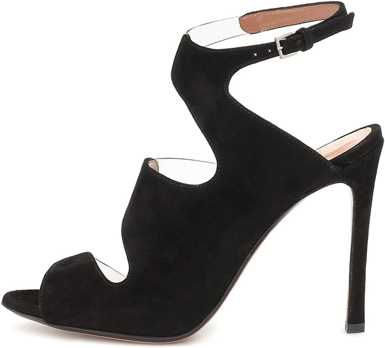 Women's Sandals, Suede high Heel Sandals - Transparent PVC Stiletto Sandals - Open Toe with high Heel Sandals Ultra high Heel (8CM or More)
