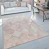 Paco Home Tapis De Salon Poils Ras Rose Couleurs Pastel Design Marbre Chiné Motif 3D, Dimension:80x150 cm