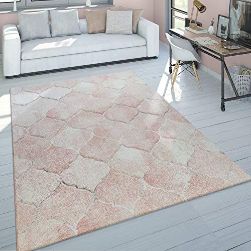 Paco Home Tapis De Salon Poils Ras Rose Couleurs Pastel Design Marbre Chiné Motif 3D, Dimension:200x290 cm