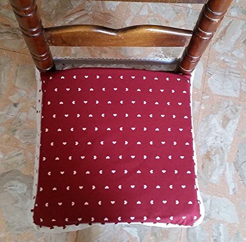 6x Galettes de chaise universelles carrées, avec housse amovible et fermeture éclair, style shabby chic - Bordeaux, imprimé cœurs