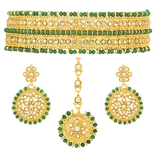 Aheli Indian Wedding Wear Polki Stone Green Beaded Choker Necklace with Maang Tikka Set Ethnic Fashion Jewelry for Women