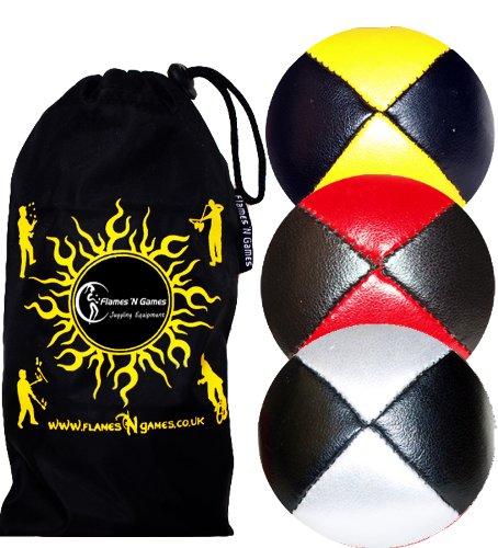 3X Balles de Jonglage Thud en Cuir Super Durable (Leather) Pro Jonglerie Beanbag Jonglage Balles + Sac de Voyage. (Noir-Blanc/Rouge/Jaune)
