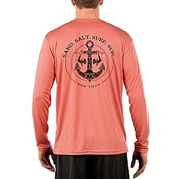 SAND.SALT.SURF.SUN Shark Anchor Men s UPF 50+ UV Sun Protection Performance Long Sleeve T-Shirt X-Large Salmon