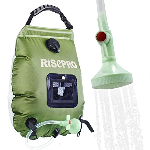 RISEPRO Solar Shower Bag, 5 gallons/20L Solar Heating Premium Camping Shower Bag Hot Water with Temperature 45°C Removable Hose on/Off Switchable Shower...