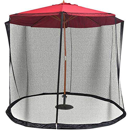 Patio Umbrella Mosquito Nets,Polyester Mesh Net Screen,Universal Canopy Umbrella Net with Zipper Door and Adjustable Rope,Fits 8-10FT Outdoor Umbrellas and Patio Tables. (Black)