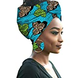 Xinvivion Vintage Femmes Tête Écharpe avec Boucle d'oreille Coton Africain Turban Foulard Rétro Chapeaux Cheveux Couverture Complète