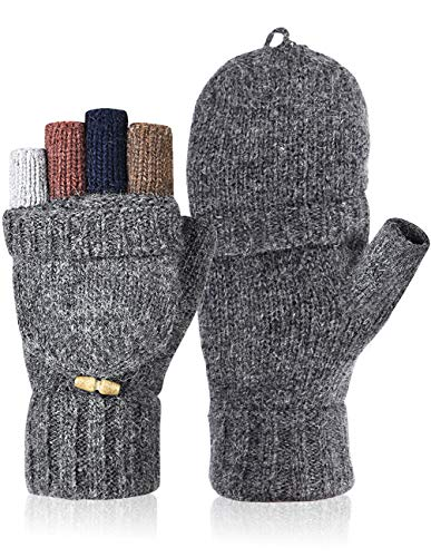 Petrunup Guantes sin dedos de punto de invierno para mujer Mezcla de lana Mitones cálidos Damas Medio dedo Hombres Gris
