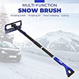 """Product Image of the JOYTUTUS Snow Brush, 5-in-1 Extendable 21""""-47' Snow Brush for Car, Durable & Sturdy, No Scratch, 270° Auto Snow Scraper with Brush, Foam Grip, Detachable ABS Ice Scraper for Car, SUV, Truck(Blue)…"""