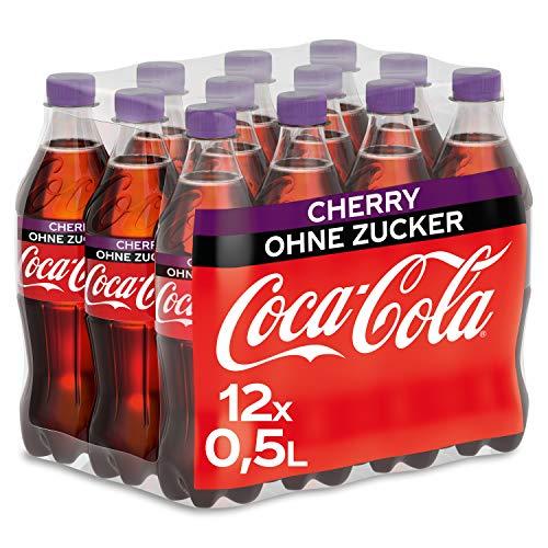Coca-Cola Zero Sugar Cherry / Fruchtiges Erfrischungsgetränk ohne Zucker in handlichen Flaschen mit originalem Kirschgeschmack / 12 x 500 ml Einweg Flasche, 6000 ml