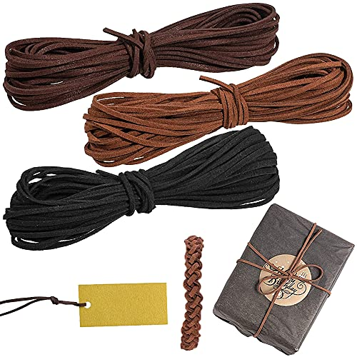 GerTong Cordón de cuero de ante, 3 unidades, multicolor, 10 m, cordón de cuero sintético, correa de cuero multifuncional, cortable, para hacer collares y pulseras, abalorios para envolver regalos