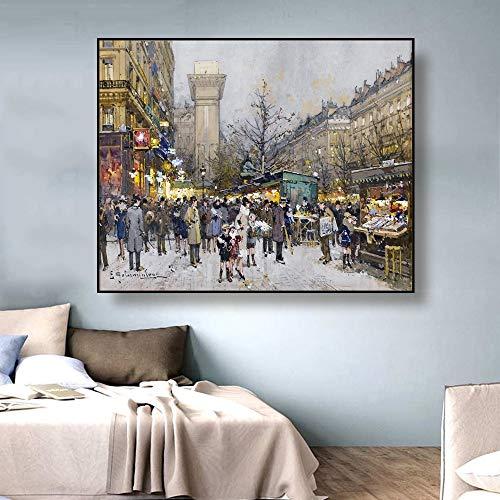 Obras de lienzo de Street View, pintura de carteles de caligrafa, fotos de sala de estar, cuadros de pared, pinturas de lienzo sin marco para decoracin del hogar P95 60x80cm