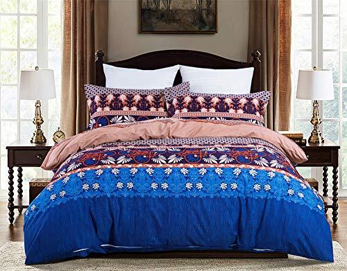 Omelas Retro Bohemian Duvet Cover Queen Boho Ethnic Vintage Floral Bedding Soft Microfiber Navy Blue Brown Printed Damask Pattern Duvet Cover Reversible Indian Tribal Comforter Cover