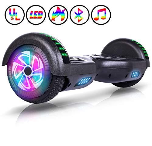 Huanhui Hoverboard 6.5 Elektroscooter selbst ausgewogene Roller 6.5 Zoll Elektroroller UL Zertifiziert 2 * 300W Starker Dual Motor Räder mit LED Licht E-Skateboard Scooter, blau