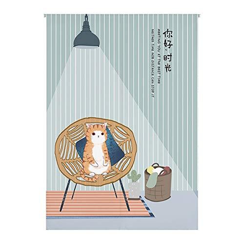 SK Studio Noren Cortina de Puerta de Estilo japonés Lino y Algodon con asta para decoración Cocina y Oficina 08, 85x170cm