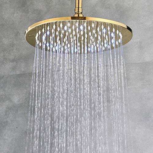 Senlesen LED Rainfall 12-inch Round Shower Head High Pressure Top Spray Without Shower Arm Ceiling Mount Gold Polished