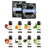 Elite99 Aceites de Fragancia, Aceites Esenciales para Humidificadores, Aceites de Aromaterapia de Frutas, Manzana, Mango, Agrios, Menta, Fresa, Coco, Piña y Limón, 10ML