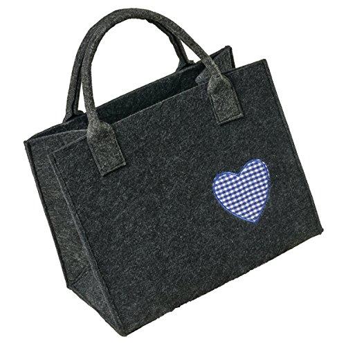 LaFiore24 Hochwertige Filztasche Handtasche Tragetasche Shopper Festival Dirndl Herz-Stickerei (dunkelgrau-blau)