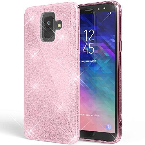 NALIA Glitter Hülle kompatibel mit Samsung Galaxy A6, Glitzer Handyhülle Ultra-Slim Silikon-Case Back-Cover Schutzhülle, Sparkle Handy-Tasche Bumper, Dünnes Bling Strass Etui, Farbe:Pink