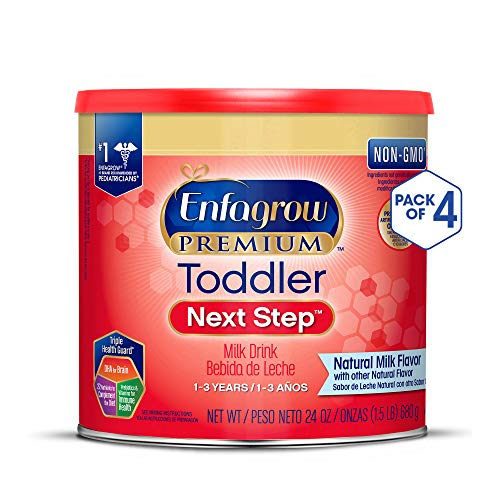 Enfagrow PREMIUM Toddler Next Step, Natural Milk Flavor - Powder Can, 24 oz (Pack of 4)