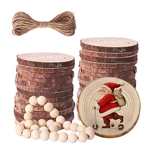 Rebanadas de madera natural Prsildan con agujeros, 6,3-7,1 cm, 30 cuentas de madera para manualidades, 30 piezas de adornos de madera sin terminar para manualidades navideñas