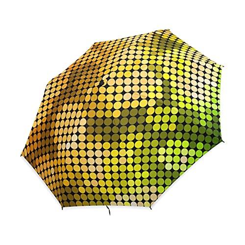 NC Paraguas Plegable Compacto, Lunares Coloridos, Paraguas de Lluvia de Viaje fácil...