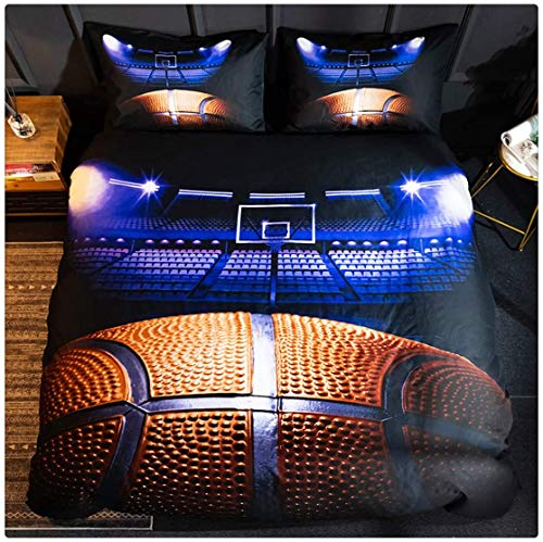 Homebed 3D Sports Basketball Bedding Set for Teen Boys,Duvet Cover Sets with Pillowcases,Twin Size,2PCS,1 Duvet Cover+1 Pillow sham