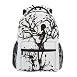 ZZKKO Flower Skull Boys Girls School Computer Backpacks Book Bag Travel Hiking Camping Daypack