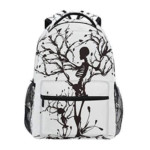 ZZKKO Flower Skull Boys Girls School Computer Backpacks Book Bag Travel Hiking Camping Daypack
