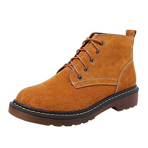 Anguang Damen Schnür Stiefeletten Biker Boots Stiefel Blockabsatz Schuhe Also (Plus Samt) 41