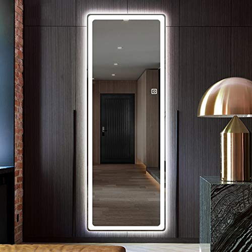 Rahmenloser Ganzkörper-Badezimmerspiegel, Geführt mit Leichtem Intelligentem Wandhalter, abgerundeter Spiegel, Dekorativer Hauptspiegel, mit Berührungsschalter Für Bad, Schlafzimmer, Korridor