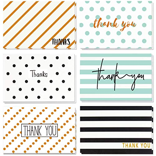 48 Simple Thank You Cards - Bulk Thank You Notes Girls Boys Baby Shower Wedding, 6 Retro Design, Blank On the Inside, 4 x 6 inch Thank You Cards with Envelopes All Occasions