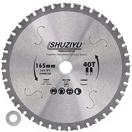 LSHUZIYU 165mm-40T, Centre hole 20mm with 15.88-10mm Washer. Circular Saw Blade for Cordless Saw Like Makita and Milwaukee, Ferrous Metal, Steel Iron Bar, Sheet, Angle Cutting