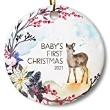 Baby's First Christmas Ornament 2021, Woodland Deer Holiday Keepsake Gift for New Parents, 3 Inch...