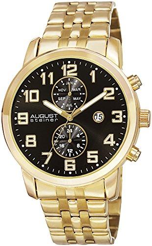 August Steiner Herren Analog Quarz Uhr mit Edelstahl Armband AS8175YGB_Gold-Tone