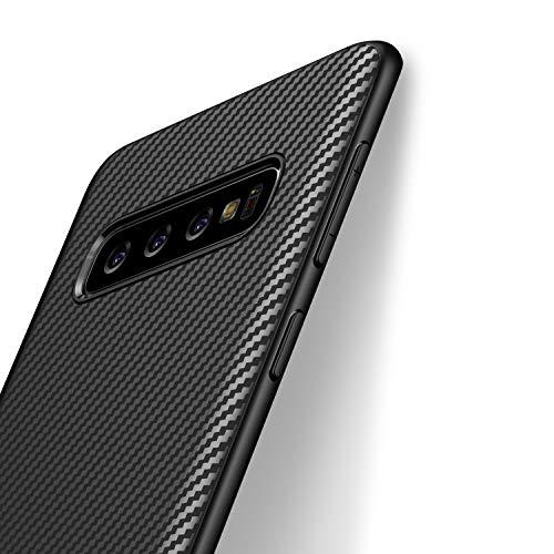 J Jecent Cover Samsung Galaxy S10 Custodia Samsung Galaxy S10 Look in Fibra di Carbonio Cover di Protezione in Morbida Silicone TPU [Anticaduta Antiscivolo AntiGraffio Antiurto] Case - Nero