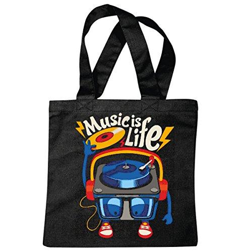 Tasche Umhängetasche Music is Life DJ Plattenspieler MISCHPULT LANGSPIELPLATTE Vinyl Techno Jazz Funky Soul Trance Festival House Hiphop HIP HOP DJ Einkaufstasche Schulbeutel Turnbeutel in Schwarz