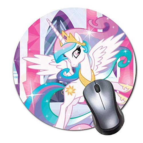 Computer Gaming Mouse Pad Non-Slip Rubber Material Round Mouse Mat for Office and Home Laptop Desktop Mousepad (8 Inch) - Princess Celestia My Little Pony