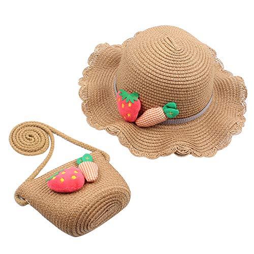iSpchen Chapeau de Paille pour bébé Fille avec Sac à Main et Sac à Main pour fête Thé d'été Voyage Plage Chapeaux Dress Up Chapeau de Fraise Seau de 2 à 8 Ans