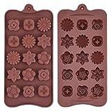 Molde de Silicona de Chocolate en Forma de Flor Molde de Bandeja de Jaleas Helados para Manualidad, Café, 2 Paquetes